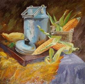 Натюрморт с аллюминевым бидоном